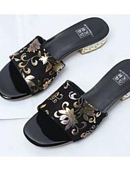 cheap -Women's Shoes Sheepskin Summer Comfort Slippers & Flip-Flops Low Heel Black / Burgundy