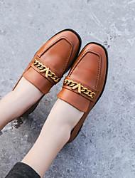 abordables -Femme Chaussures Cuir Nappa Printemps / Automne Confort Mocassins et Chaussons+D6148 Talon Bas Bout carré Noir / Marron / Argent