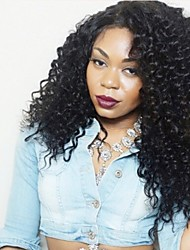 cheap -Remy Human Hair Lace Front Wig Brazilian Hair Curly Wig Layered Haircut 130% Natural Hairline / For Black Women Black Women's Mid Length Human Hair Lace Wig