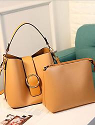 baratos -Mulheres Bolsas PU Conjuntos de saco 2 Pcs Purse Set Ziper Amarelo / Marron / Prateado
