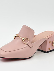 cheap -Women's Shoes Nappa Leather Spring & Summer Slingback Clogs & Mules Chunky Heel Square Toe Imitation Pearl White / Pink