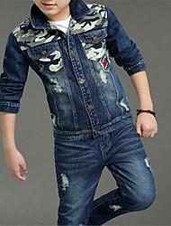 Недорогие -Дети Мальчики Классический Однотонный Длинный рукав Полиэстер Набор одежды Синий