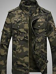 Недорогие -Муж. Куртка Воротник-стойка камуфляж / Длинный рукав