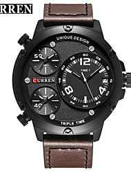 cheap -CURREN Men's Dress Watch / Bracelet Watch Chinese Calendar / date / day / Water Resistant / Water Proof / New Design Genuine Leather Band Casual / Fashion Black / Khaki / Stainless Steel
