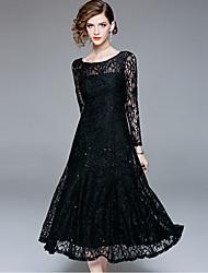 cheap -YHSP Women's Street chic / Sophisticated Sheath / Little Black / Swing Dress Lace