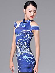 cheap -Latin Dance Dresses Women's Performance Ice Silk Pattern / Print / Ruching / Tassel Sleeveless Dress
