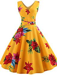 baratos -Mulheres Vintage balanço Vestido - Estampado, Floral Altura dos Joelhos