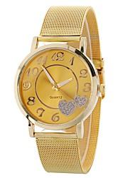 baratos -Mulheres Relógio de Pulso Chinês Cronógrafo / Criativo / Adorável Aço Inoxidável Banda Heart Shape / Rígida Prata / Dourada / Um ano