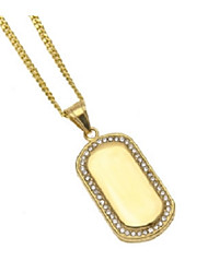 cheap -Men's AAA Cubic Zirconia Stylish Pendant Necklace - Stainless Simple, Trendy, Hip-Hop Gold 60 cm Necklace 1pc For Gift, Daily