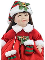 Недорогие -NPKCOLLECTION Куклы реборн Индийская девушка 24 дюймовый Искусственная имплантация Коричневые глаза Детские Девочки Игрушки Подарок