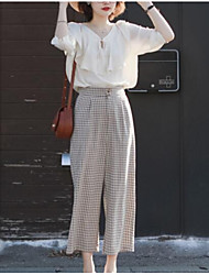 cheap -Women's Basic Wide Leg Pants - Solid Colored Black & White, Tassel