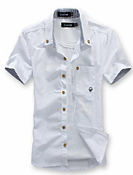 cheap -Men's Plus Size Slim Shirt - Solid Colored Basic Button Down Collar / Short Sleeve