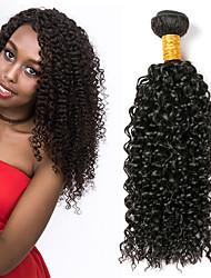 Недорогие -3 Связки Малазийские волосы Kinky Curly 8A Натуральные волосы Человека ткет Волосы Пучок волос Накладки из натуральных волос 8-28 дюймовый Естественный цвет Ткет человеческих волос