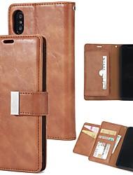 abordables -Coque Pour Apple iPhone X / iPhone 8 / iPhone XS Portefeuille / Porte Carte / Clapet Coque Intégrale Couleur Pleine Dur faux cuir pour iPhone XS / iPhone XR / iPhone XS Max