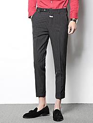 Χαμηλού Κόστους Στολές-Ανδρικά Ψηλή Μέση Λεπτό Παντελόνι επίσημο Παντελόνι Ριγέ / Δουλειά