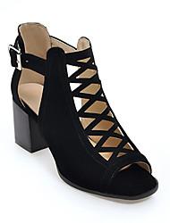 baratos -Mulheres Sapatos Camurça Primavera Verão Gladiador Saltos Salto de bloco Peep Toe Botas Curtas / Ankle Botão Preto / Verde Tropa / Khaki