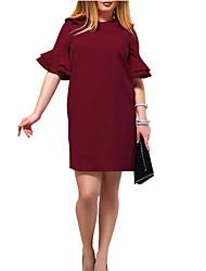 cheap -Women's Loose Shift Dress Crew Neck