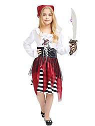 Недорогие -Пираты Костюм Девочки Дети Хэллоуин Хэллоуин Карнавал День детей Фестиваль / праздник Инвентарь Белый Однотонный Полоски Halloween