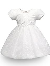 Недорогие -малыш Девочки Цветок солнца Однотонный / Жаккард С короткими рукавами Платье