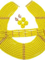 Недорогие -Жен. Многослойность Комплект ювелирных изделий - Австрийские кристаллы MOON Мода Включают Струнные ожерелья Красный / Зеленый / Светло-коричневый Назначение Свадьба