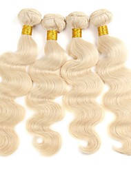 cheap -Peruvian Hair Wavy Weave 1 Bundle 8--28 inch Human Hair Weaves New Arrival / Hot Sale / For Black Women Light Blonde Human Hair Extensions Unisex