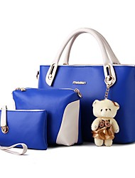 baratos -Mulheres Bolsas PU Conjuntos de saco 3 Pcs Purse Set Urso Rosa / Bege / Roxo