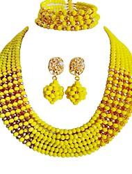 Недорогие -Жен. Многослойность Комплект ювелирных изделий - MOON Мода Включают Струнные ожерелья Желтый / Красный / Зеленый Назначение Свадьба / Для вечеринок