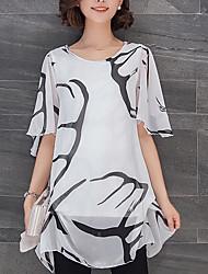 cheap -Women's Vintage Blouse - Solid Colored Black & White, Tassel