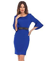Недорогие -Жен. На выход Вспышка рукава Оболочка Платье - Однотонный Выше колена Синий