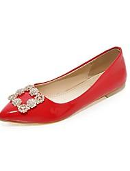 baratos -Mulheres Sapatos Couro Envernizado Outono Bailarina Rasos Sem Salto Dedo Apontado Gliter com Brilho Branco / Preto / Vermelho / Casamento