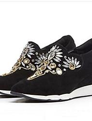 baratos -Mulheres Sapatos Camurça / Pele de Carneiro Primavera / Verão Conforto Mocassins e Slip-Ons Salto Plataforma Dedo Fechado Preto / Cinzento