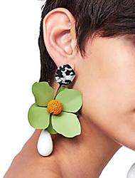 baratos -Brincos Compridos - Florais / Botânicos, Flor Fashion Vermelho / Verde / Azul Real Para Festa / Encontro / Rua