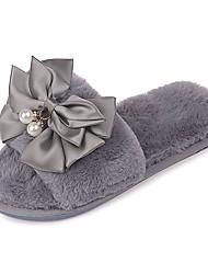 baratos -Mulheres Sapatos Couro Ecológico Verão Conforto Chinelos e flip-flops Sem Salto Laço Preto / Cinzento / Rosa claro