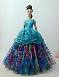 baratos -Vestidos Vestir Para Boneca Barbie Verde Floresta Tule / Renda / Mistura de Seda / Algodão Vestido Para Menina de Boneca de Brinquedo
