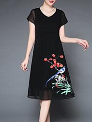 povoljno -Žene Osnovni Korice Haljina Jednobojni / Cvjetni print Do koljena