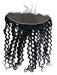 Недорогие -CARA Крупные кудри 4X13 Закрытие Волнистый Бесплатный Часть Французское кружево Натуральные волосы Жен.