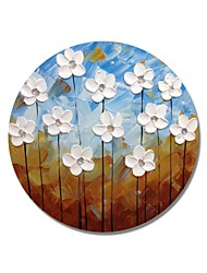 cheap -STYLEDECOR Modern Hand Painted Abstract Circular Frame Blue and Brown Backgroud with White Flowers Oil