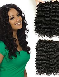Недорогие -3 Связки Малазийские волосы Кудрявый Натуральные волосы Удлинитель / Пучок волос / Накладки для мужчин 8-28 дюймовый Черный Естественный цвет Ткет человеческих волос Машинное плетение