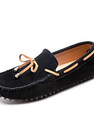 abordables -Hombre Mocasín Cuero Verano Calzado de Barco Negro / Gris / Marrón