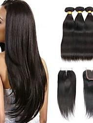 billige -Indisk hår Lige Menneskehår, Bølget / Udvidelse / Én Pack Solution 3 Bundler Med Afslutning 8-22 inch Menneskehår Vævninger 4x4 Lukning Klassisk / Bedste kvalitet / Sikkerhed Naturlig Naturlig Farve