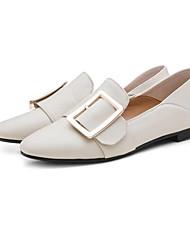 baratos -Mulheres Sapatos Pele Napa Verão Conforto Mocassins e Slip-Ons Sem Salto Dedo Fechado Preto / Vinho / Amêndoa
