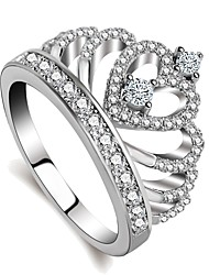 cheap -Women's Classic Stylish Ring - Platinum Plated, Imitation Diamond Heart, Crown Classic, Korean, Fashion 5 / 6 / 7 / 8 / 9 Silver For Party Gift