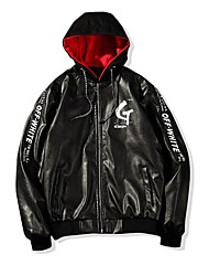 cheap -Men's Leather Jacket - Letter Hooded / Long Sleeve