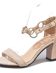 povoljno -Žene Cipele Brušena koža Ljeto D'Orsay cipele Sandale Kockasta potpetica Okrugli Toe Crn / Bež / Pink