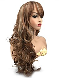 cheap -Synthetic Wig Curly Side Part Synthetic Hair Synthetic Light Brown Wig Women's Long Capless Medium Auburn