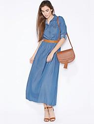 Недорогие -Жен. Уличный стиль / Изысканный Джинса / Рубашка Платье - Однотонный, Заклепки Макси