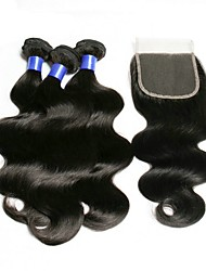 cheap -Brazilian Hair Wavy Natural Color Hair Weaves / Tea Party Favors / Costume Accessories 3 Bundles With  Closure 8-20 inch Human Hair Weaves 4x4 Closure Best Quality / New Arrival / Hot Sale Dark Black