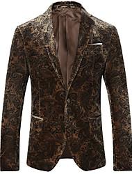 cheap -Men's Plus Size Blazer - Floral Print / Long Sleeve