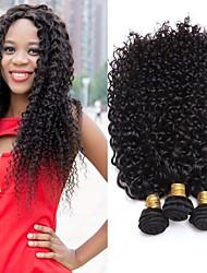 Недорогие -3 Связки Бразильские волосы Kinky Curly Натуральные волосы Пучок волос / Накладки из натуральных волос 8 inch-26 inch Нейтральный Ткет человеческих волос Машинное плетение