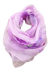 Недорогие -Жен. Праздник Квадратный платок - Бант Шифон, Цветочный принт / Все сезоны